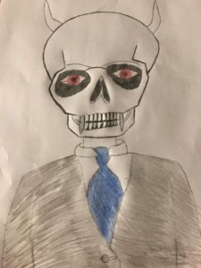 skull monster in a smart suit with a blue tie. he has red eyes and horns